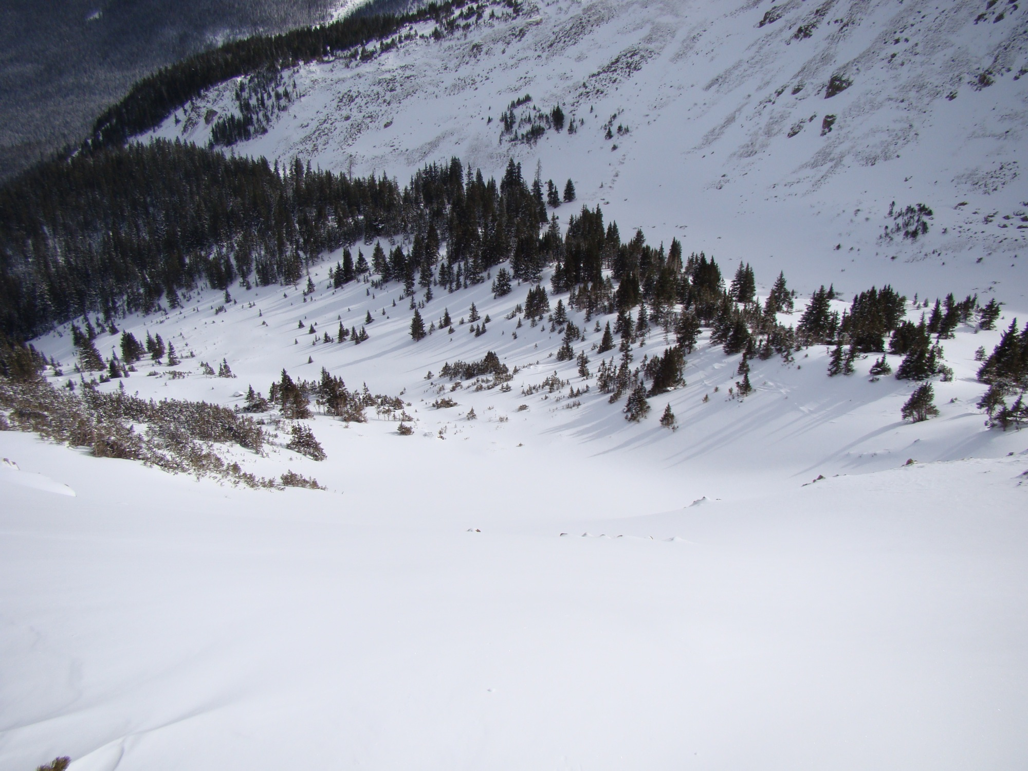 Looking Down the Untouched South Chutes