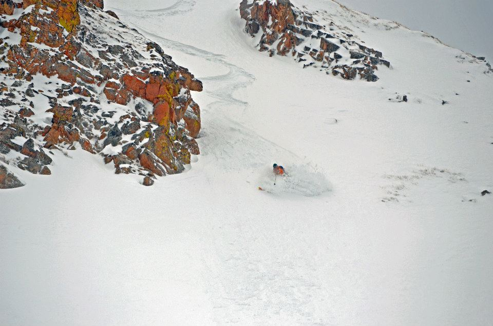 George Enjoying Some Spring Powder in the North Chutes
